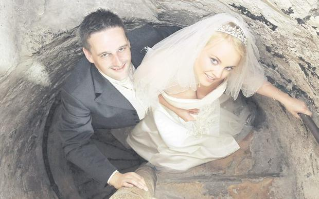 """Iain and Julianne on their wedding day at Carrick Castle <p><b>To send us your Wedding Pics <a  href=""""http://www.belfasttelegraph.co.uk/usersubmission/the-belfast-telegraph-wants-to-hear-from-you-13927437.html"""" title=""""Click here to send your pics to Belfast Telegraph"""">Click here</a> </a></p></b>"""
