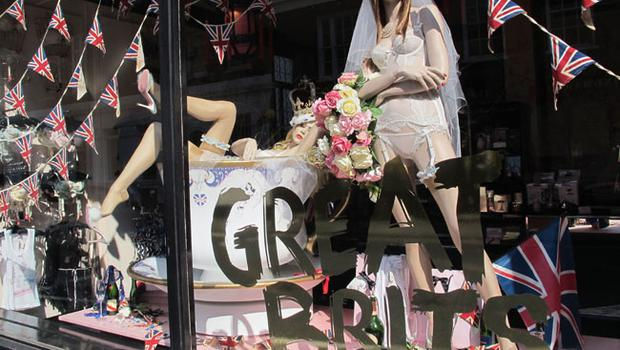 LONDON, ENGLAND - APRIL 29:  A general view of a royal wedding themed window display at Agent Provocateur in Pont Street, Chelsea on April 29, 2011 in London, England. The marriage of the second in line to the British throne is to be led by the Archbishop of Canterbury and will be attended by 1900 guests, including foreign Royal family members and heads of state. Thousands of well-wishers from around the world have also flocked to London to witness the spectacle and pageantry of the Royal Wedding.  (Photo by Adrian Murrell/Getty Images)