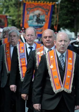 Orangemen on parade during the County Londonderry 12th of July celebration in Limavady