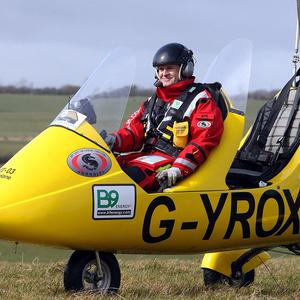 Norman Surplus, 48, from Larne, Co Antrim, who is bidding to fly around the world in a gyrocopter