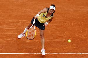 Kimiko Date-Krumm produced the biggest upset of the tournament so far with a first-round victory over Dinara Safina