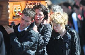 Mourners attend the funeral of PJ McLaughlin at St Mary's Church in Fahan, Co Donegal
