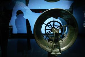 A telegraph wheel from the Titanic is displayed in the Titanic: Artifact Exhibition at the Metreon on June 6, 2006 in San Francisco, California.