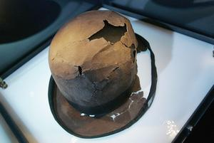A bowler hat is displayed in the Titanic: Aritifact Exhibition at the Metreon on June 6, 2006 in San Francisco, California. The exhibition opens on June 10, 2006 and will feature more than 300 authentic artifacts that have been recovered from Titanic's debris field. (Photo by David Paul Morris/Getty Images)