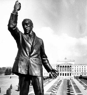 The statue of Sir Edward Carson looms over Stormont