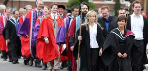 Graduations at Queen's University in Belfast.  The procession of officials and dignitaries makes it's way to the ceremony.