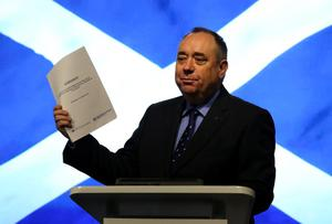 Something to think about: Scottish First Minister Alex Salmond holds the agreement between the UK Government and the Scottish Government to hold a referendum on independence for Scotland