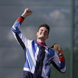 Great Britain's Peter Wilson receives the Olympics gold medal for men's double trap event at London 2012 (AP)