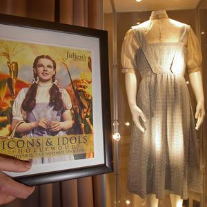 The dress worn by Judy Garland in the Wizard Of Oz has been sold for more than 300,000 pounds