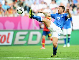 GDANSK, POLAND - JUNE 10:  Antonio Cassano of Italy controls the ball during the UEFA EURO 2012 group C match between Spain and Italy at The Municipal Stadium on June 10, 2012 in Gdansk, Poland.  (Photo by Jasper Juinen/Getty Images)