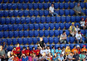 KHARKOV, UKRAINE - JUNE 09:  Empty seats are seen during the UEFA EURO 2012 group B match between Netherlands and Denmark at Metalist Stadium on June 9, 2012 in Kharkov, Ukraine.  (Photo by Julian Finney/Getty Images)