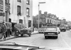 Riots : Belfast. August 1969.  Falls Road aftermath: a motorists view of the severly damaged area of West Belfast.  (19/8/69)