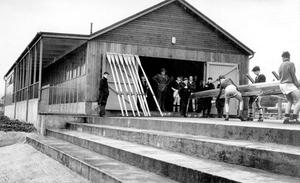"The new boathouse for Methodist College situated at Stranmillis, Belfast, where an ""At Home"" will be held tomorrow to mark the opening, 1961."