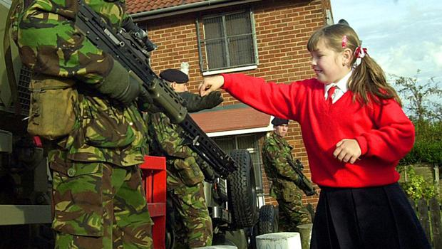 A pupil from the Holy Cross school in North Belfast interferance where trouble has been erupting for several weeks.
