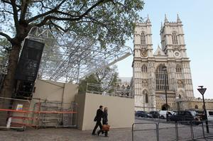LONDON, ENGLAND - APRIL 20: A media stand is erected outside Westminster Abbey on April 20, 2011 in London, England. With only 9 days until the Royal Wedding stands and media facilities have been created along the Royal Route. (Photo by Oli Scarff/Getty Images)