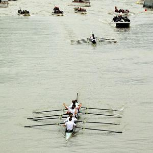 The Cambridge crew (bottom) after beating Oxford in the 158th Boat Race