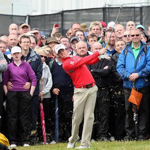 Rory McIlroy during day one of the Irish Open at Royal Portrush Golf Club