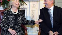US Secretary of State Hillary Clinton meets First Minister Peter Robinson at Stormont Castle in Belfast