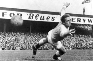 The legendary Harry Gregg in action for Northern Ireland at Windsor Park.