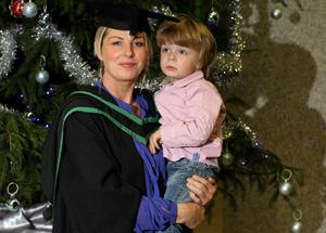 13.12.10. Picture by David Fitzgerald. Graduations yesterday from the University of Ulster in Jordanstown. Elaine Montgomery who studied Health and Social Care with her son Charlie Denner