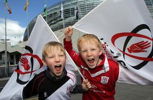 Ulster fans Harry and Robbie Cooper, eight-year-old twins at the Aviva Stadium ahead of Saturday's Heineken Cup semi-final