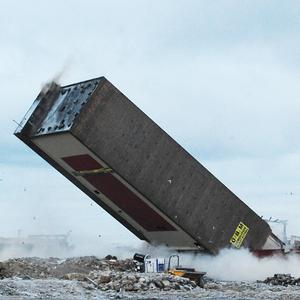 A view of the Campbell's Soup Tower in King's Lynn, as it is demolished by a series of controlled explosions