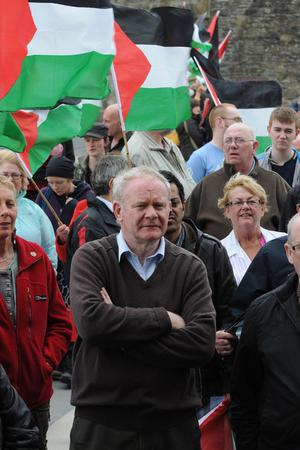Deputy First Minister Minister Martin McGuinness who joined several hundred people in Derry's Guild Hall Square in protest at the raid on the aid flotilla which was travelling to Gaza