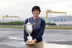 Rory McIlroy pictured with the US Open trophy at George Best Belfast City Airport last night
