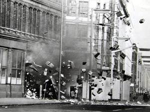 A bomb explodes in a stationary shop in Royal Avenue, Belfast Picture by Fred Hoare