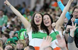 Ireland fans celebrate in the stands during the IRB Rugby World Cup match at the Otago Stadium, Dunedin, New Zealand.
