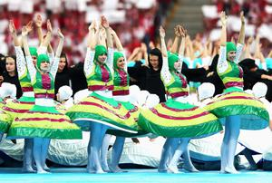 WARSAW, POLAND - JUNE 08:  Dancers perform during the opening ceremony ahead of the UEFA EURO 2012 group A match between Poland and Greece at The National Stadium on June 8, 2012 in Warsaw, Poland.  (Photo by Michael Steele/Getty Images)