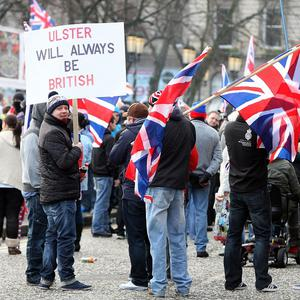 Loyalists protesters during a city centre flag protest in Belfast