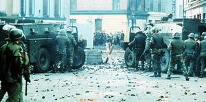 Bloody sunday in Derry 1972 when members of the parachute regiment opened fire on a banned Civil Rights march through the city.
