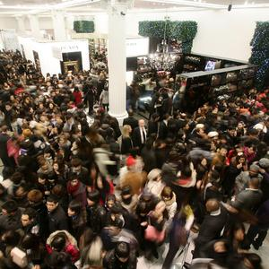 Shoppers at the Selfridges Boxing Day sale on Oxford Street, central London