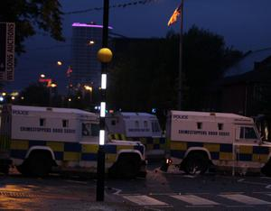 Homes in east Belfast's Short Strand area have been attacked by a large groups of rioters
