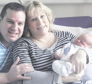 "Greg and Jennifer Snodgrass with Maximilian <p><b>To send us your Baby Pics <a href=""http://www.belfasttelegraph.co.uk/usersubmission/the-belfast-telegraph-wants-to-hear-from-you-13927437.html"" title=""Click here to send your pics to Belfast Telegraph"">Click here</a> </a></p></b>"