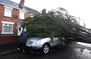 Billy McCullough pictured outside his house in Sandbrook Park in east Belfast where a tree fell on his car