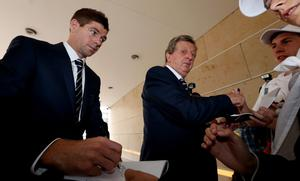 KRAKOW, POLAND - JUNE 25:  England manager Roy Hodgson and captain Steven Gerrard arrive for a UEFA EURO 2012 press conference on June 25, 2012 in Krakow, Poland.  (Photo by Scott Heavey/Getty Images)