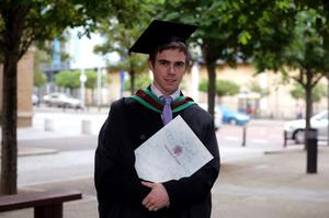 29.06.11. PICTURE BY DAVID FITZGERALDUniversity of Ulster Graduations at the Waterfront Hall, Belfast yesterday. Michael Kelly who studied Planning and Property Development