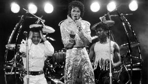 Michael Jackson of the Jackson Five performs on stage during the Jackson 5 Victory Tour at Arrowhead Stadium,Kansas City on the 6th of July 1984.