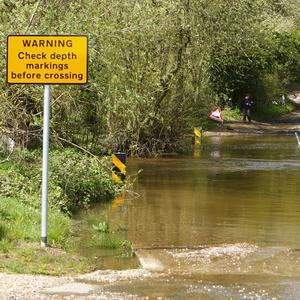 The ford at Thornford Road, Compton Wood, Hampshire, where a man and a dog died after the car they were travelling in became submerged