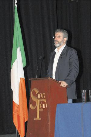 Gerry Adams speaking to a packed audience at the Millennium Forum last night
