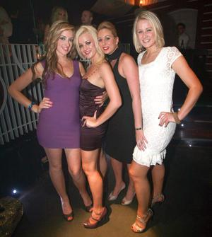 Sara Scullion, Laura Lyons, Carlie Jameson and Louise White at Style Academy's 18th Birthday bash in the Rain Night Club.