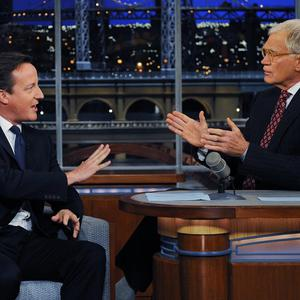 David Cameron talks with talk show host David Letterman