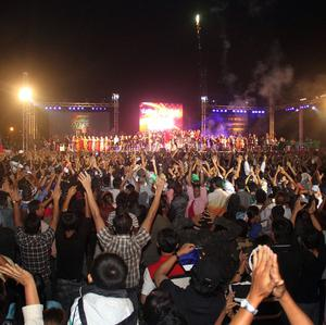 The first ever public New Year Countdown celebration in Burma, at Myoma grounds in Yangon (AP)