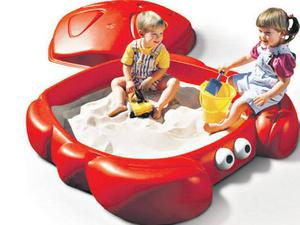"""<b>2. Step 2 Sandbox</b>  £99.91, tesco.com  Here's a snappy number! This crab-shaped sandbox has a lid to protect the sand from pets and rain. It has two """"claw"""" seats and can be used as a paddling pool."""