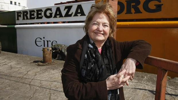 Nobel peace prize winner Mairead Maguire standing beside the Cargo ship the MV Rachel Corrie 12/05/10