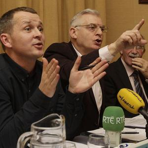 (Left to right) Richard Boyd Barrett, Joe Higgens and Seamus Healy during the launch of the new United Left Alliance