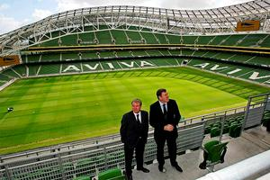 Irish football legends Packie Bonner (right) and Ray Houghton chat in the new Aviva Stadium (formerly Lansdowne Road) as they take a tour of the grounds as part of the stadium's official opening