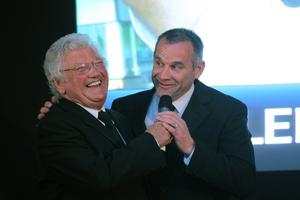 Hall of Fame inductee Glenn Ferguson (right) with Jackie Fullerton